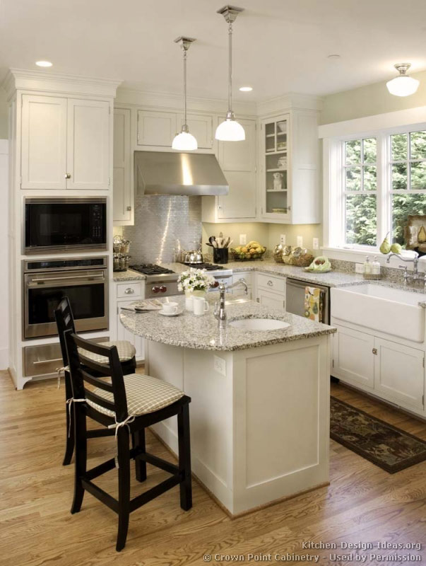 Small Kitchen Island With Sink Ideas Pictures Of Kitchens - Traditional - White Kitchen