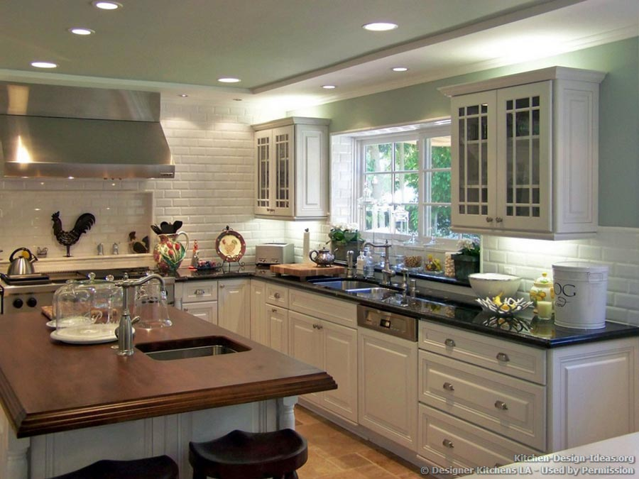 White Green Kitchen Ideas Popular Kitchen Colors | Light Colors W/dark Island | U