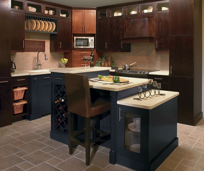 Kitchen Island Espresso Light Maple Cabinets In Kitchen - Kitchen Craft Cabinetry