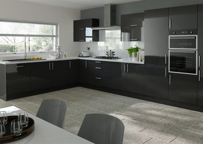 Schwarze Hochglanz Küche Lewes High Gloss Black Kitchen Doors From £5.48 Made To