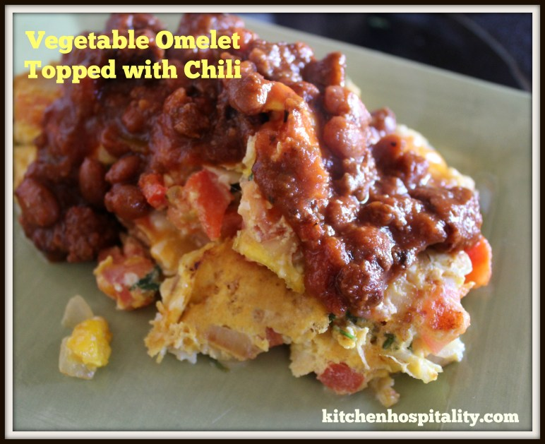 Vegetable Omelet Topped with Chili