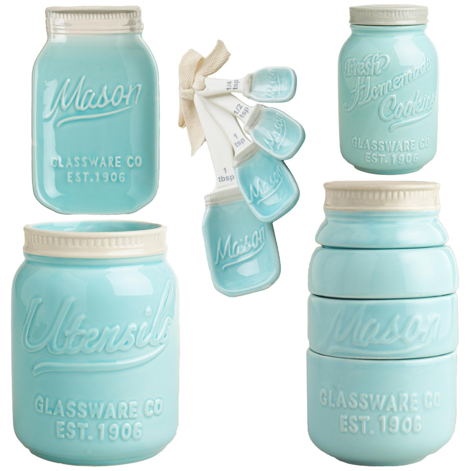 Ceramic Cookie Jar Sets Mason Jar Ceramic Kitchenware Quotcomplete Set Quot Measuring