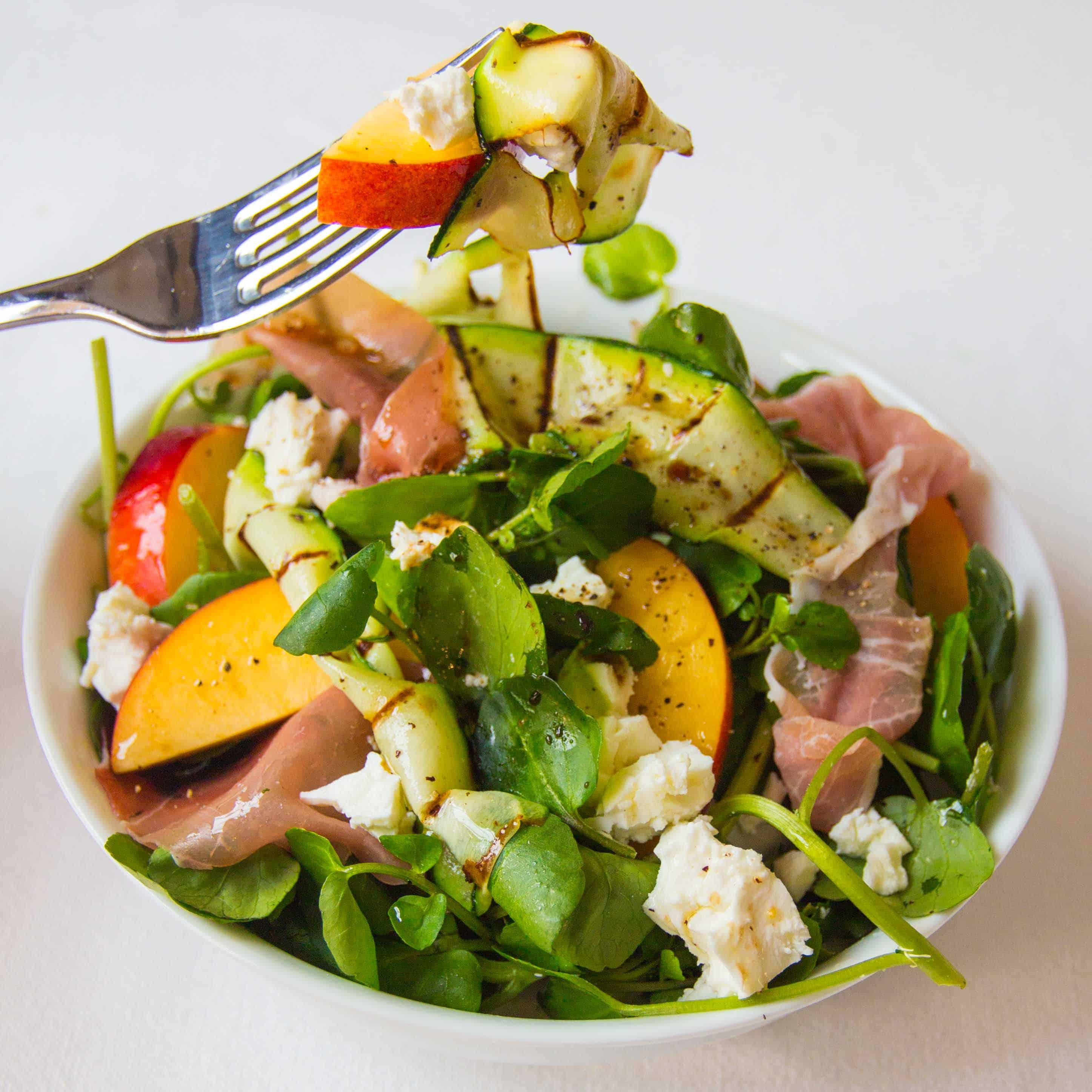 Prosciutto, feta and nectarine salad with griddled courgette - the perfect summer salad!
