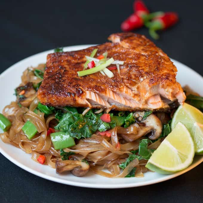Sticky Salmon with Chilli Lime Noodles - Soft, fall-apart salmon and flat rice noodles cooked with beautiful Asian flavours