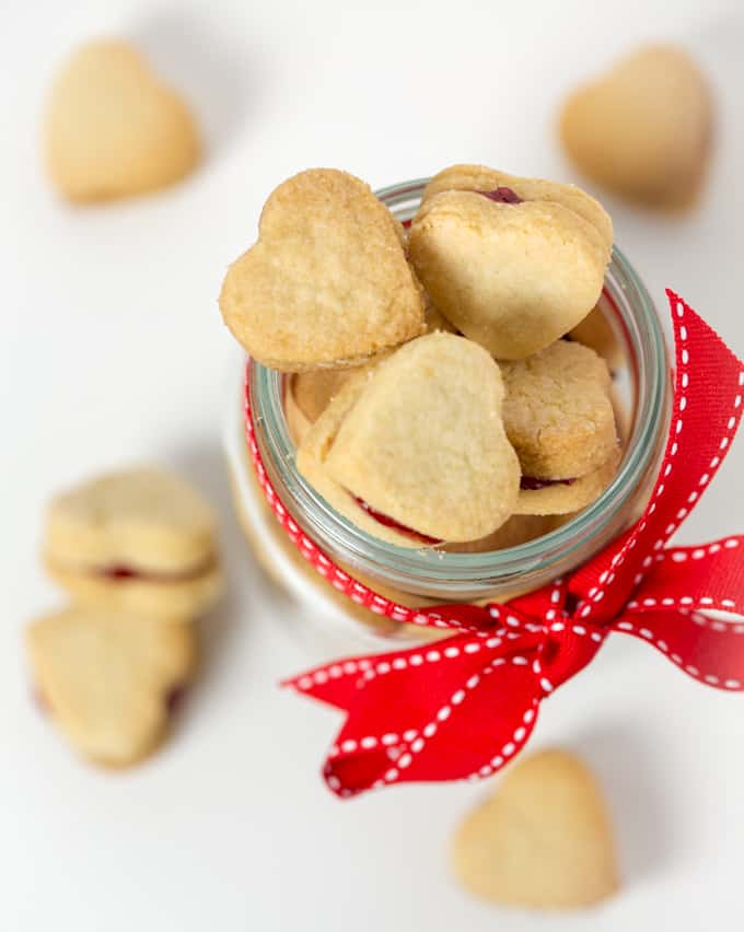 cookies - Buttery shortbread hearts sandwiched with raspberry ...