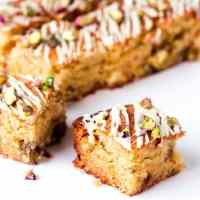 Soft, sweet and very moreish, these white chocolate and pistachio blondies are guaranteed to please. Plus they're gluten free too!