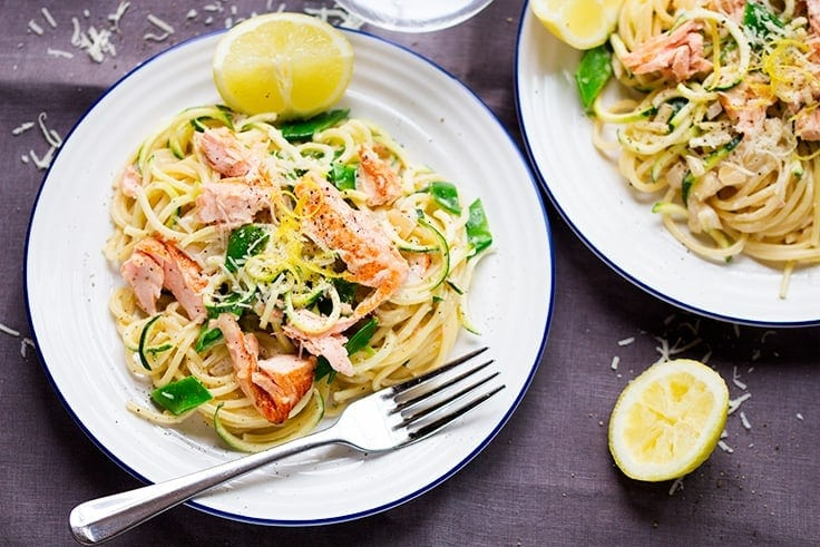 Salmon and spaghetti in a creamy lemon sauce with green veg - easy, healthy and really really tasty!