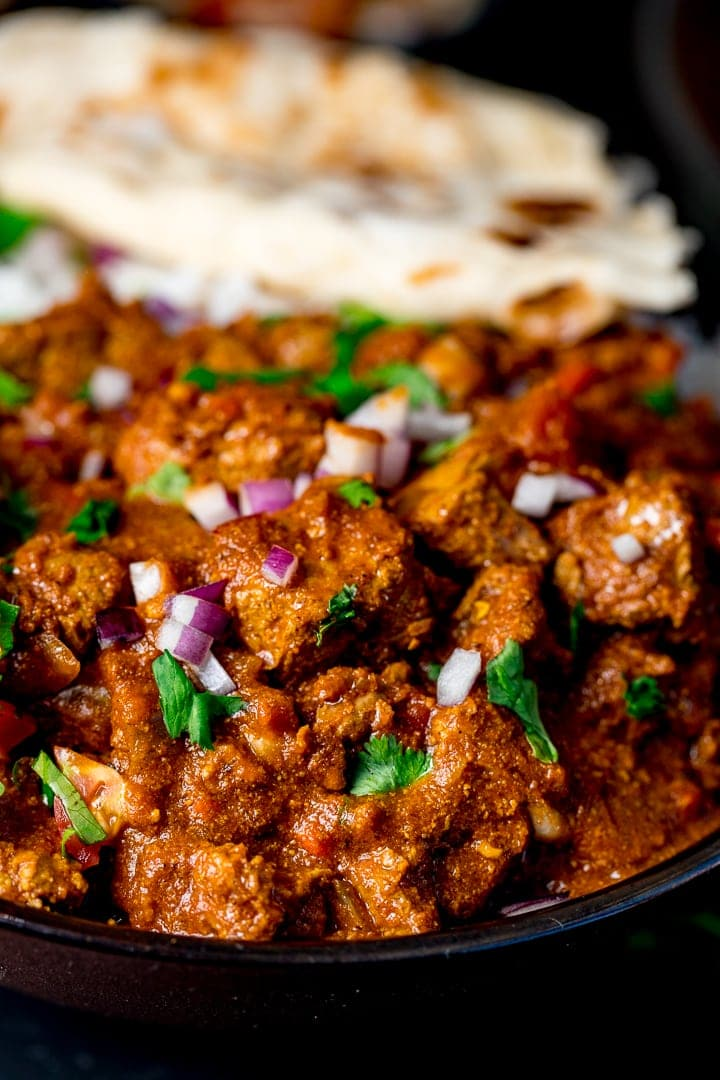 Healthier slow-cooked spicy beef curry. Less than 500 calories WITH ...