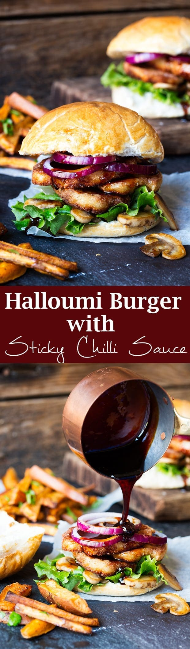 Halloumi burger with sticky chilli drizzle. A speedy and delicious ...