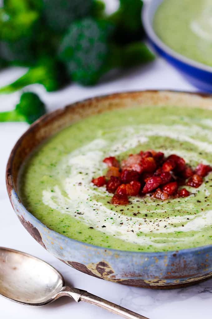Cream of Broccoli soup - with a couple of other veggies thrown in and topped with bacon for good measure!