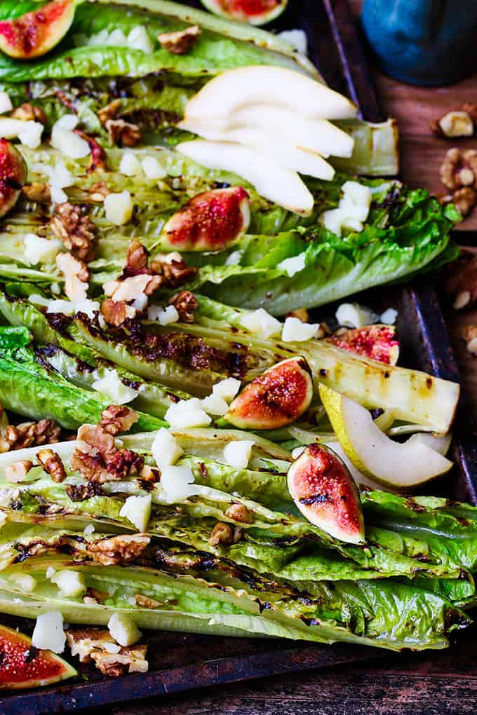 Grilled Romaine Hearts with Figs, Pear and Manchego