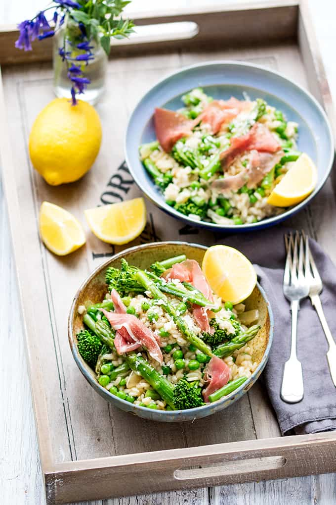 Spring Vegetable Risotto with Proscuitto - light and full of flavour!