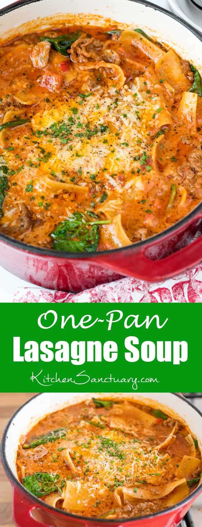 One pan lasagne soup - all the taste of lasagne but so much simpler!
