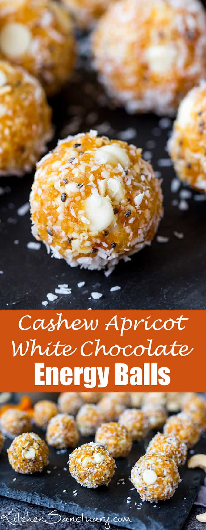 Cashew Apricot White Chocolate Energy Balls - A healthier way to combat that afternoon energy dip!