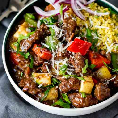 Slow Cooked Summer Beef Casserole. Fall-apart meat with crunchy veg and parmesan. Serve it with couscous for an even lighter feel.