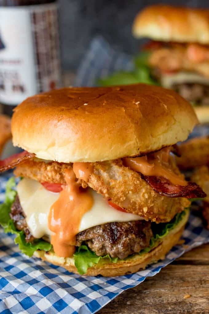 The Ultimate Bacon Cheeseburger with Baked Parmesan Onions Rings - this is what I call a proper burger!