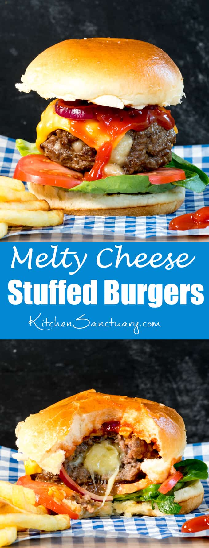 This melty cheese stuffed burger with crunchy lettuce, onion and juicy tomatoes, all sandwiched in a golden toasted brioche bun is way better than any takeout burger!