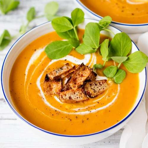 Baked sweet potato and carrot soup with cheddar potato skin croutons - A warming healthier soup. Gluten free & vegetarian.