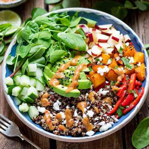 These Vegetarian Buddha Bowls with Spicy Peanut sauce make a great Winter salad – for those days when you fancy something a bit lighter for dinner.