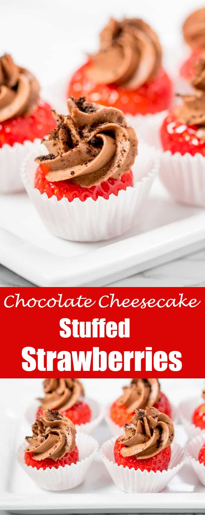 These chocolate cheesecake stuffed strawberries make a great canape, party dessert or snack!