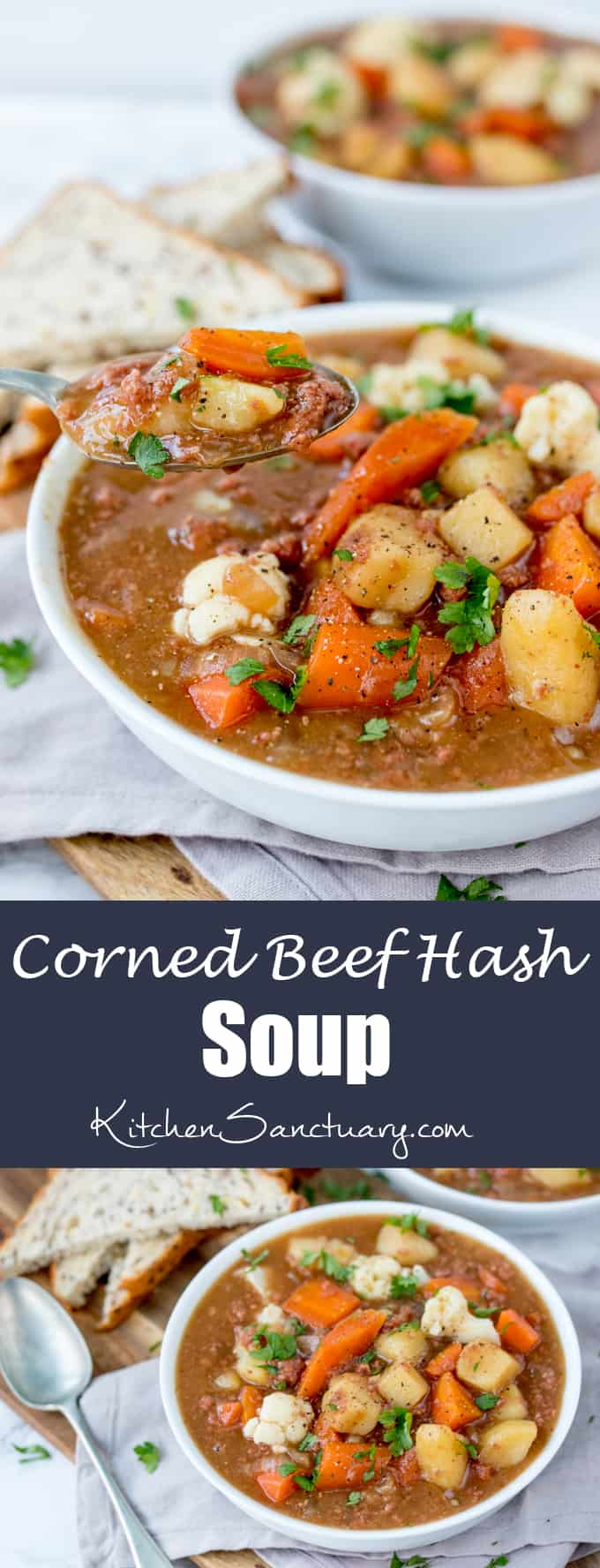 This rich and meaty corned beef hash soup is filling enough for dinner. Ready in 30 mins too!