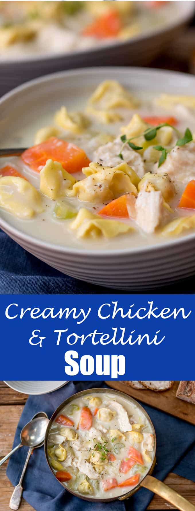 This Creamy Chicken and Tortellini Soup is serious comfort food - and substantial enough for dinner!