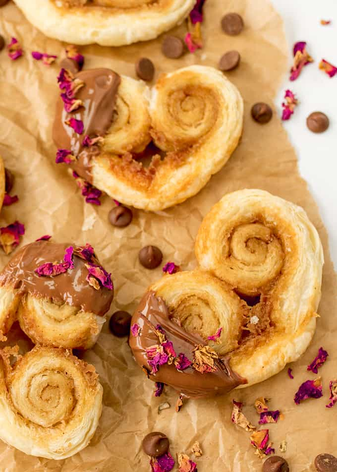 These Rose and Chocolate Valentines Palmiers are simple and delicious - only five ingredients!