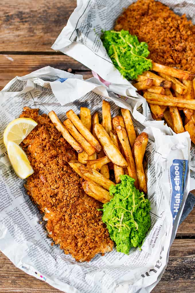These fish and chips may be baked instead of fried, but they've still got all the flavour and crunch of the fried version!