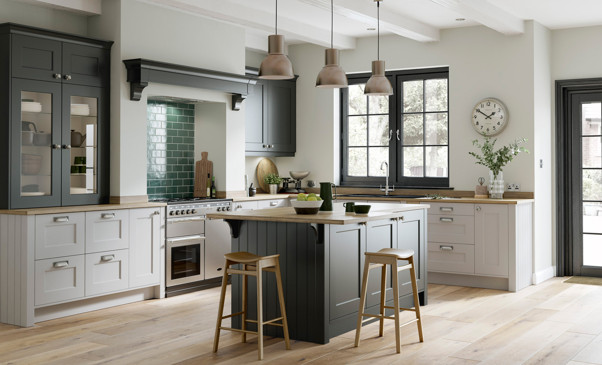Shaker Doors Kitchen Smooth Painted Shaker Doors Florence Graphite Light Grey