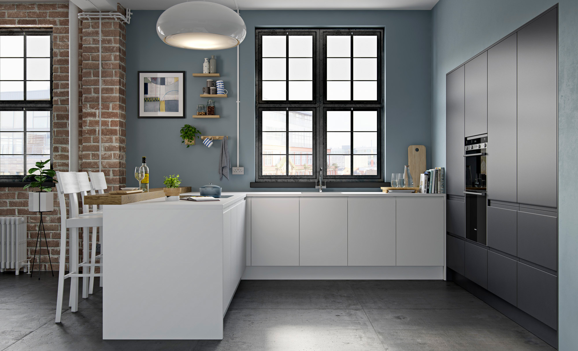 Matte Kitchen Cabinets Handless Kitchens Strada Matte White And Graphite Uform
