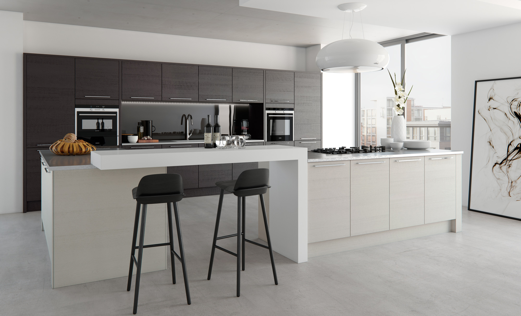 Black Kitchen Light Tavola Modern Hacienda Black And Light Grey Kitchen Stori