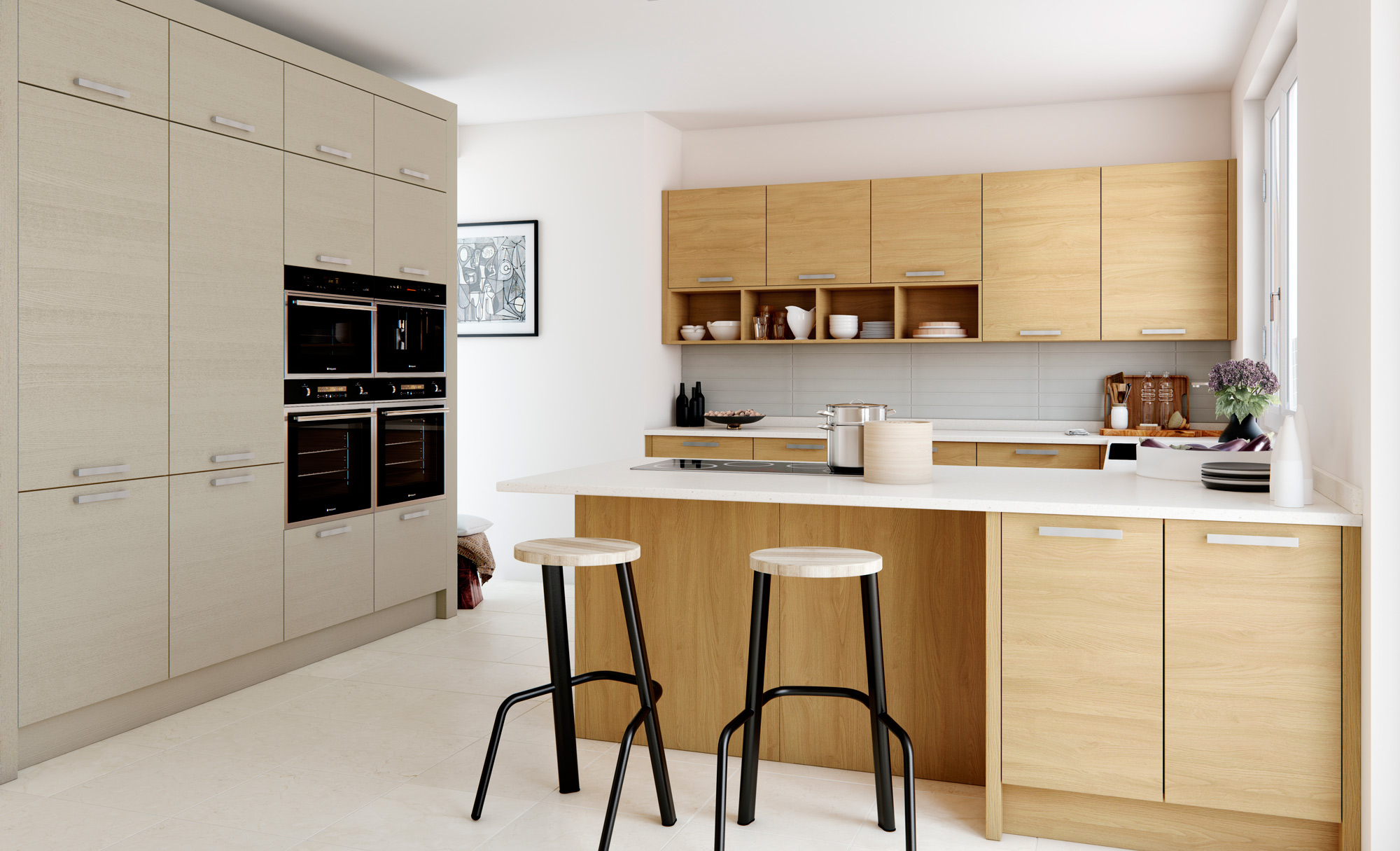 L Küche Mit Halbinsel Tavola Modern Light Oak And Cashmere Kitchen Stori