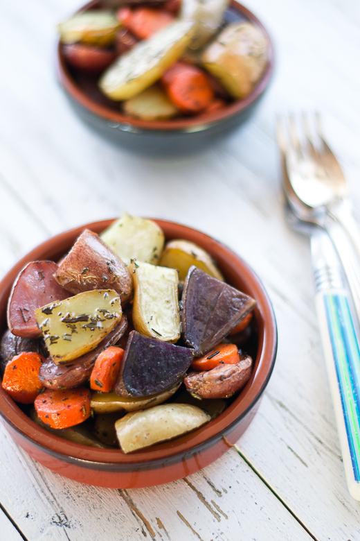 roasted potatoes & carrots with rosemary