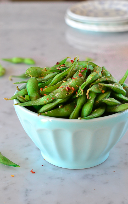edamame with chili peppers, garlic and salt