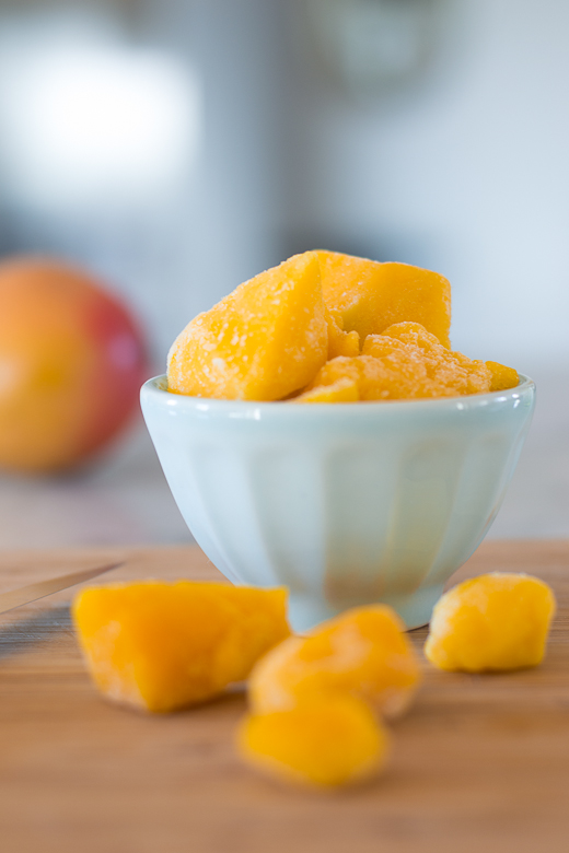close up mango chunks