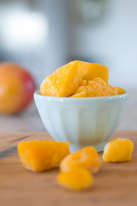 close up mango chunks