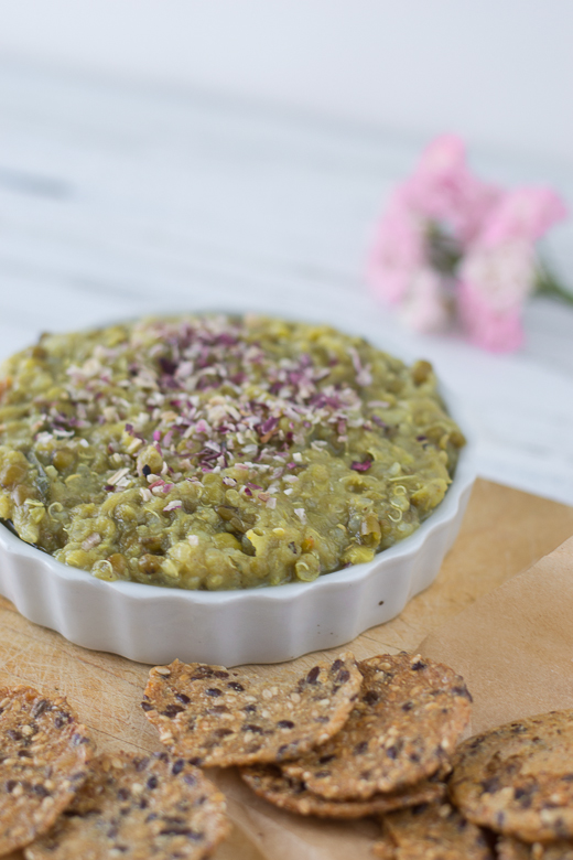 curried mung bean dip close up