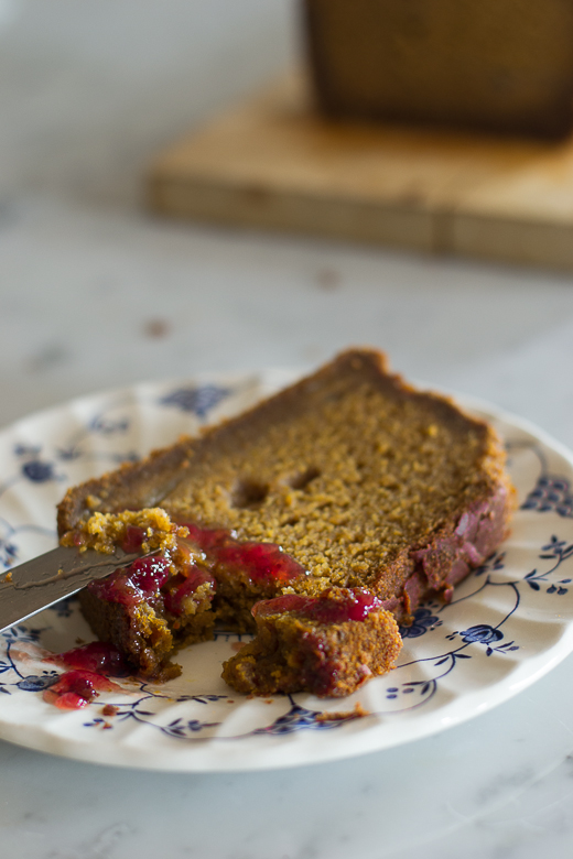 sliced pumpkin bread with strawberry preserves