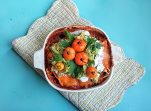 Quick Veggie Enchiladas in Pumpkin Sauce