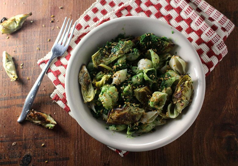 Lighter Pasta Bowl with Kale and Artichokes