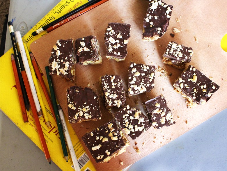 super easy salty chocolate peanut butter bars study break bars