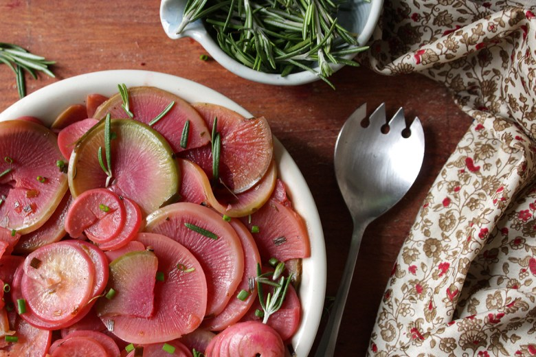 braised and pickled watermelon radishes
