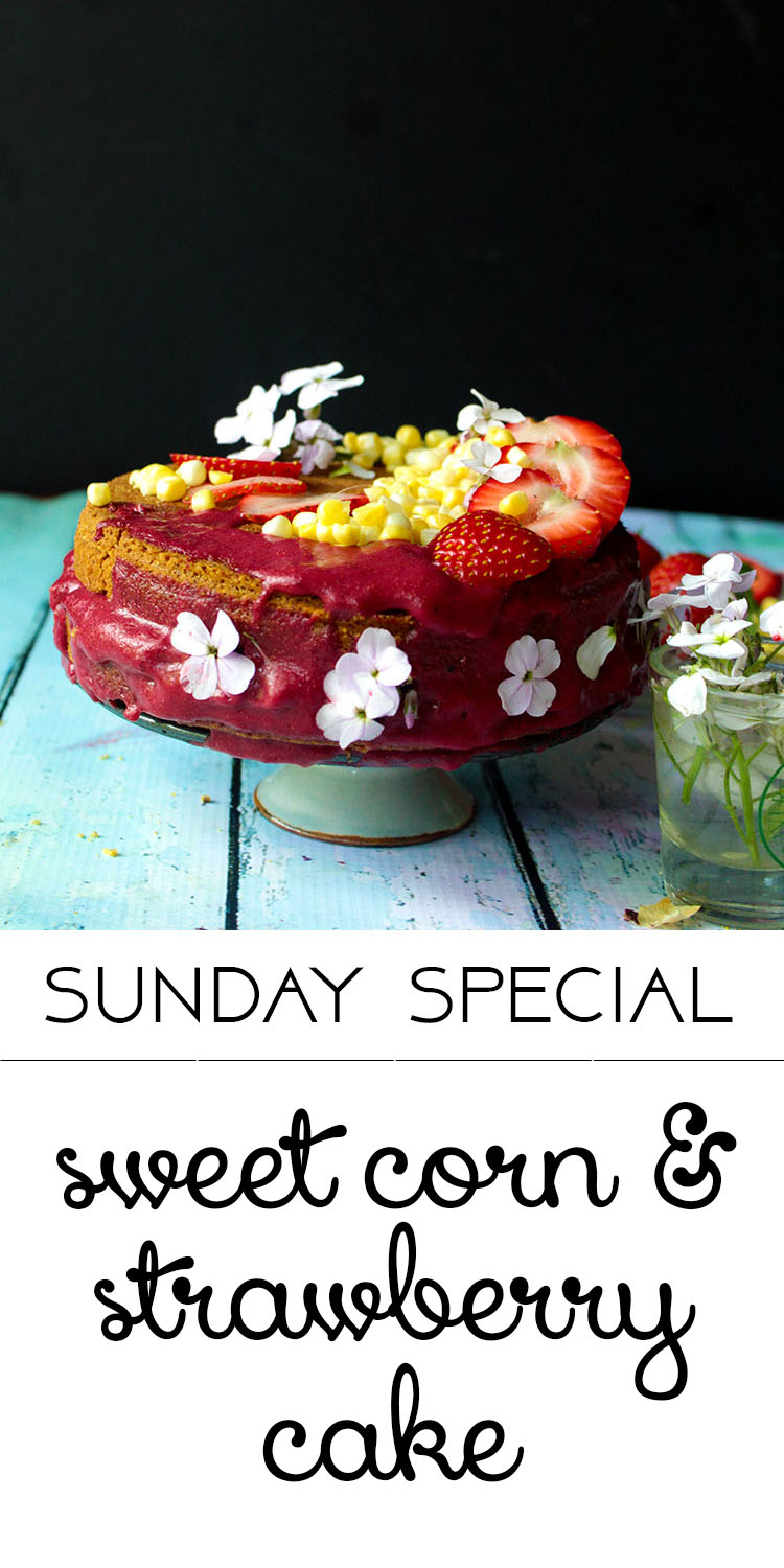 this mini sweet corn and strawberry cake is perfect for summer. v+f