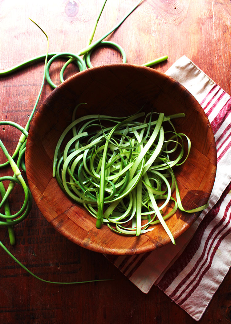 bright green garlic scapes, fresh zucchini noodles -- with a few real noodles -- make a fun and flavorful summer dinner