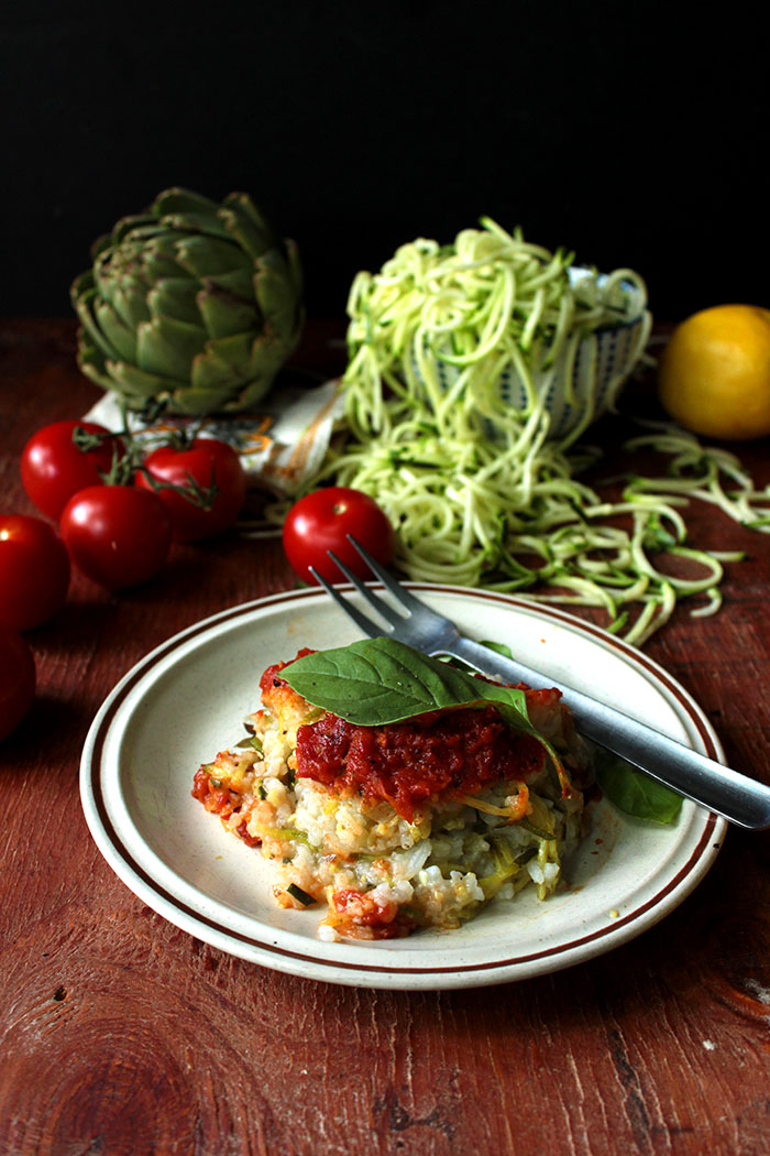 Have a runaway zucchini crop? This tomato and zucchini pie is your answer. A family pleaser for sure. This is a vegan dish, but if you eat dairy, feel free to cheese it up.