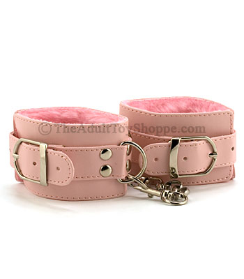 Pink Plushy Handcuffs from the Adult Toy Shoppe