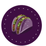 The Purple Taco pin, used in camp swag. Click to visit the Camp's Yahoo! Group.