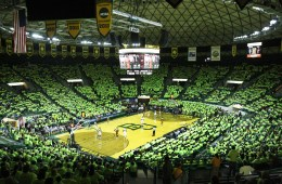 "Baylor fans throughout the Ferrell Center put on bright neon shirts in a motion to have the Texas players become ""Blinded by Green & Gold"" during the game Saturday afternoon, Jan. 28, 2012.  The Longhorns suffered a 76-71 defeat to the Bears.  Matt Hellman 
