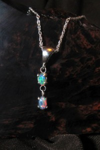 Lightning Ridge Double Opal Pendant - Sterling Silver 925, Original Handcrafted Artisan Jewelry, Crystal Opal, Black Opal, Opal Necklace