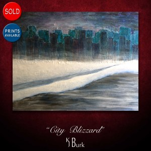 KJsArtStudio.com | City Blizzard ~ Original Textured Winter Cityscape Painting by KJ Burk